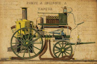 Dessin aquarellé Pompe à incendie à vapeur...