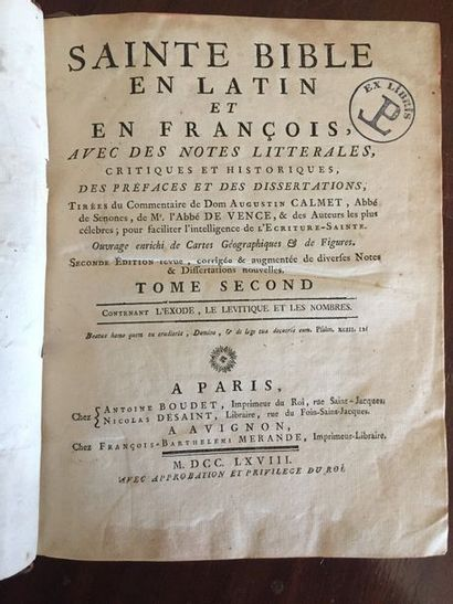 BIBLE. La Sainte Bible en latin et en françois,...