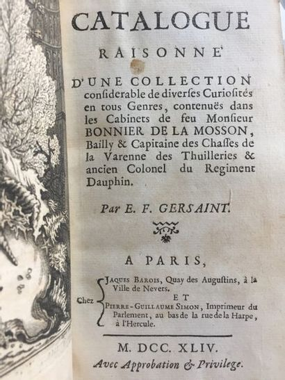 [CATALOGUES DE VENTES]. - GERSAINT. Catalogue...