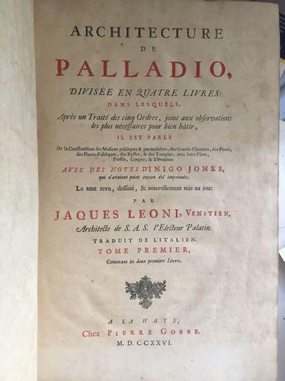 PALLADIO. Architecture de Palladio, divisée...