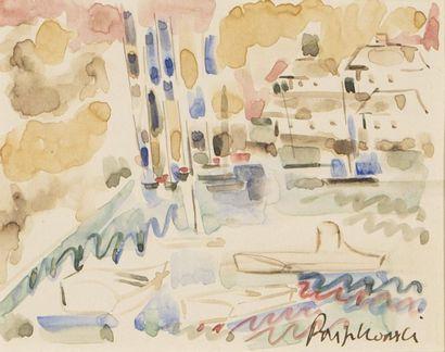 Ecole du XXème siècle La péniche et le port...