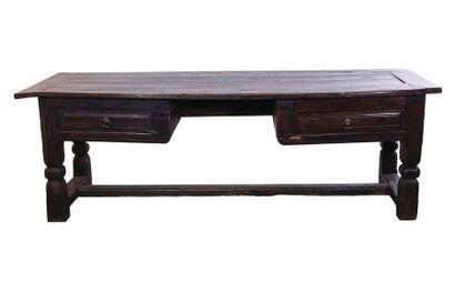 Table transformée en bureau en bois fruitier,...