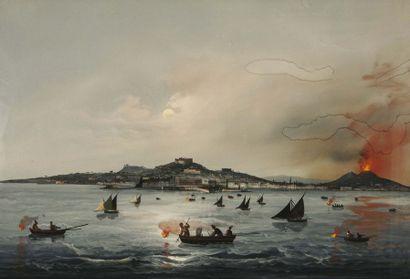 Ecole Napolitaine du XIXème Vésuve en éruption...