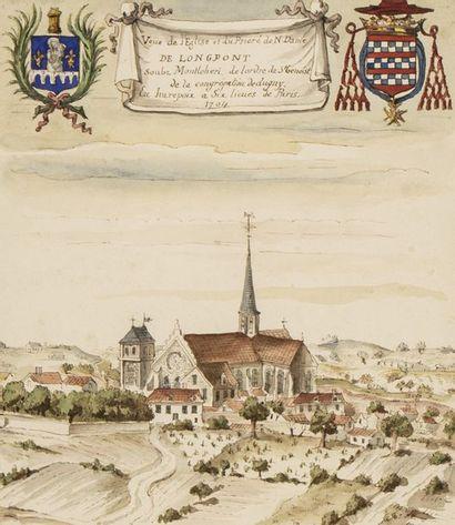 École Française du XXème Vue du château de la Roüe, de l'église et du prieuré de...