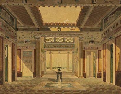 École Française du XIXème Intérieur de temple...