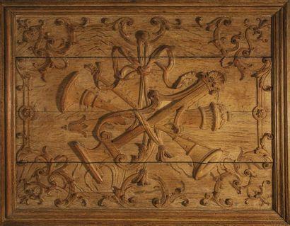Paire de panneaux rectangulaires en bois...