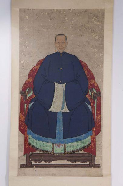 CHINE : Rouleau vertical, peinture sur papier...