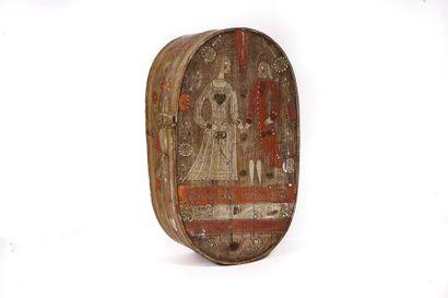 Boîte en bois courbé â décor floral et d'un...