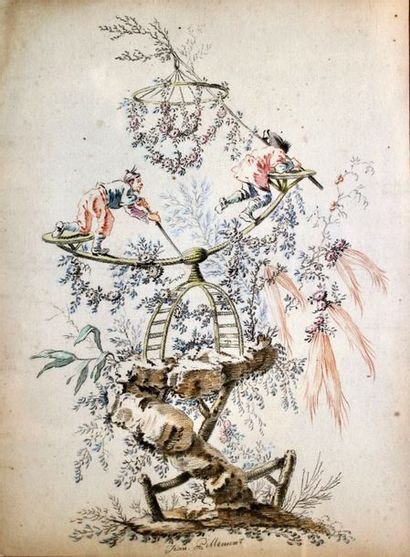 Jean PILLEMENT (1728-1808) Chinoiserie Crayons...