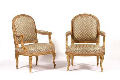 Rare paire de fauteuils à dossier en anse...