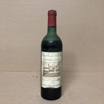 1 bouteille CHÂTEAU CLINET 1978 (niveau bas,...