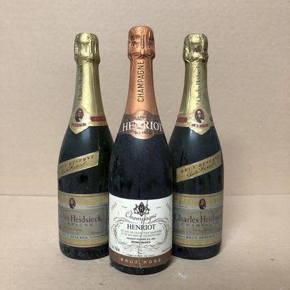 3 bottles: 1 CHAMPAGNE HENRIOT 1981 Rosé,...