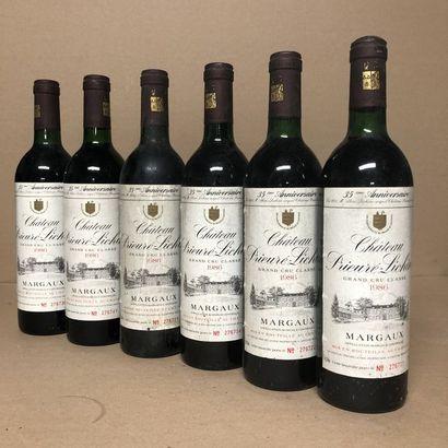 6 bouteilles CHÂTEAU PRIEURE LICHINE 1986...
