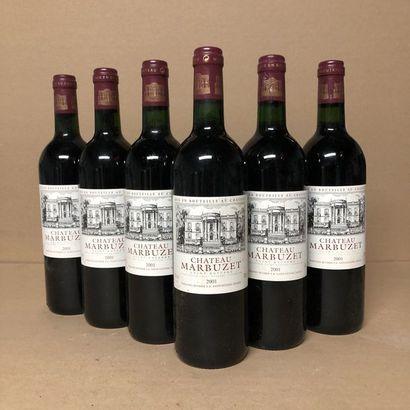 6 bouteilles CHÂTEAU MARBUZET 2001 (niveaux...