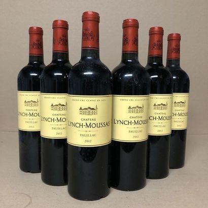 6 bouteilles CHÂTEAU LYNCH-MOUSSAS 2012 (niveaux...