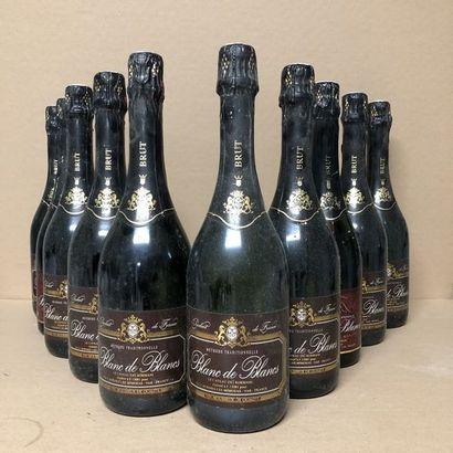 10 CRÉMANT Blanc de Blancs bottles (faded...
