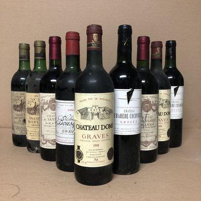 9 bouteilles : 2 CHÂTEAU MOULON 1978 Pessac-Leognan,...