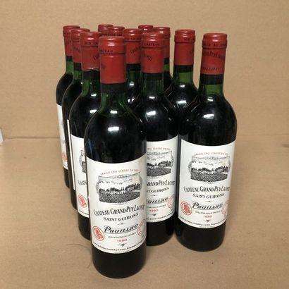 12 bouteilles CHÂTEAU GRAND PUY-LACOSTE 1980...
