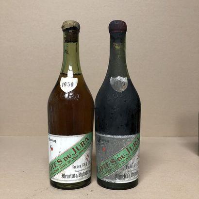 2 bottles CÔTES DU JURA 1959 (levels: 1 to...
