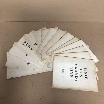 15 catalogues LISTE DES GRANDS VINS FINS...