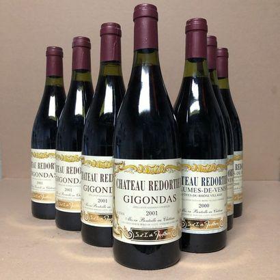 7 bottles: 4 GIGONDAS 2001 Château Redortier,...