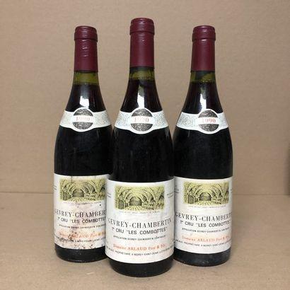 3 bouteilles GEVREY-CHAMBERTIN 1990 1er cru...