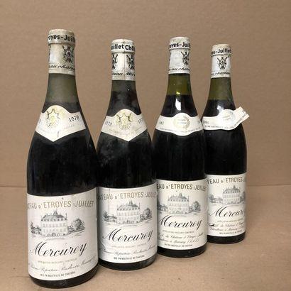4 bouteilles : 2 MERCUREY 1979 Château d'Etroyes-Juillet,...