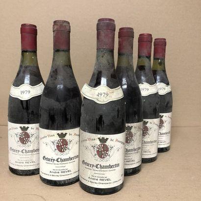 6 bouteilles GEVREY CHAMBERTIN 1979 (niveaux...
