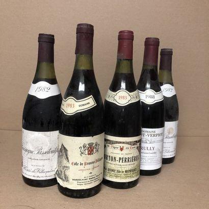 5 bouteilles : 2 BOURGOGNE PASSETOUTGRAIN...