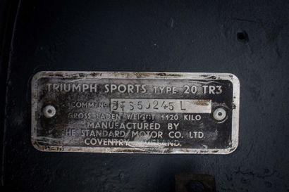 1961 TRIUMPH TR3A Numéro de série BTS59245L  Titre de circulation européen    Apparue...