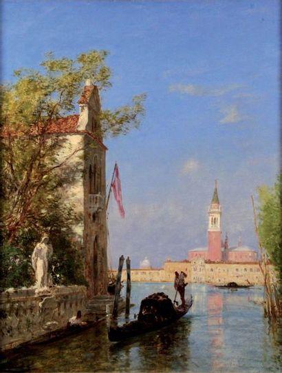 FELIX ZIEM 1821-1911. Gondole sur un canal...