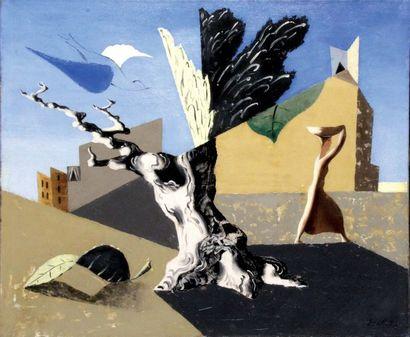 LEOPOLD SURVAGE 1879-1968. Paysage surréaliste, 1927. Huile sur toile signée et...