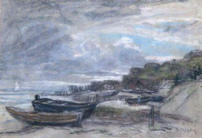 EUGENE BOUDIN 1824-1898. Barques sur la grève....