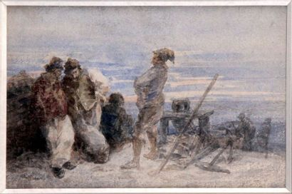 EUGENE BOUDIN 1824-1898. Pêcheur sur la grève...