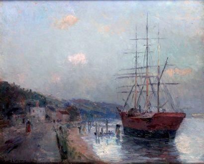 ALBERT LEBOURG 1849-1928. Trois mats amarrés...