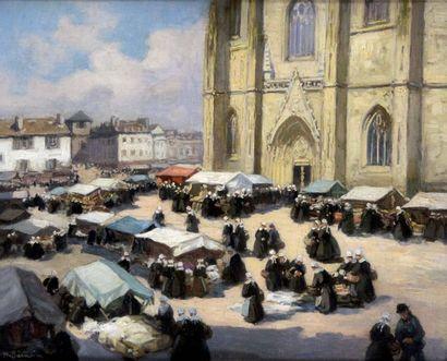 HENRI BARNOIN 1882-1940. Marché à Quimper....