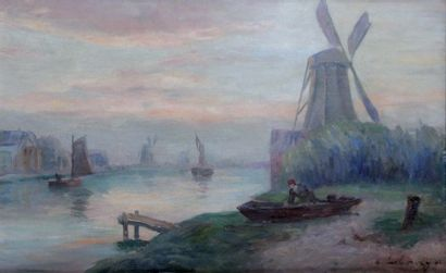 ALBERT LEBOURG 1849-1928. Moulin en Hollande...