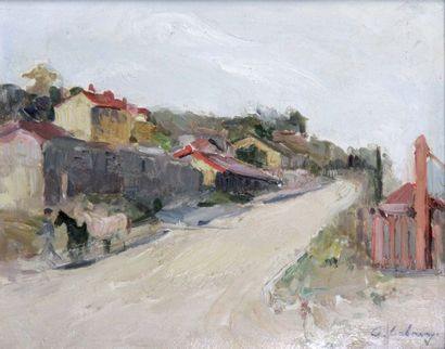 ALBERT LEBOURG 1849-1928. Chevaux sur le...