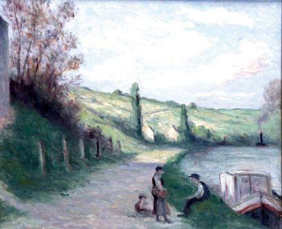MAXIMILIEN LUCE 1858-1941. Rolleboise, halte...