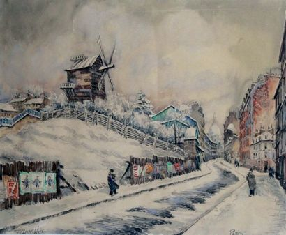FRANK WILL 1900-1951 Montmartre moulin sous...