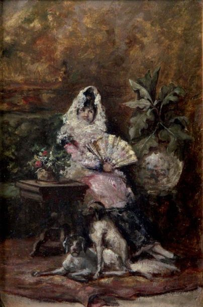 LUIS GIMENEZ Y ARANDA 1845- 1928 Femme et...