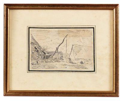 Charles JACQUES (1879-1959) Le puit Encre et plume Signé et daté 14 août 1849 en...