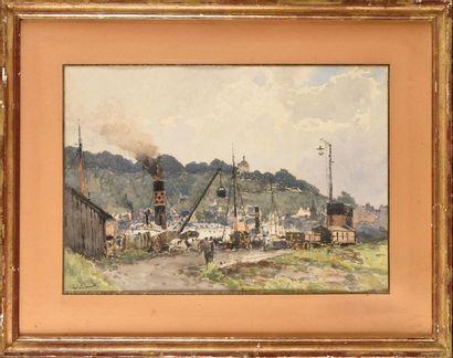 Paul LECOMTE (1842-1920) Le port de Honfleur...
