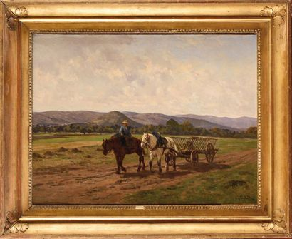 Clément QUINTON (1851-1920) Charette et paysan...