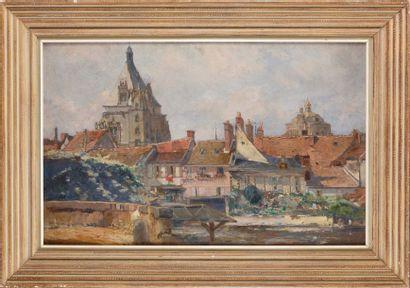 Ecole fin XIXe- début XXe Lavandières à Evreux...