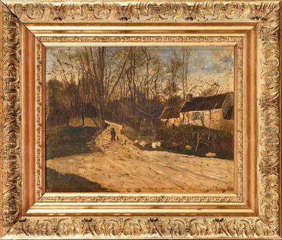 Léon PELTIER (XIX-XX) Scène animée au chasseur...