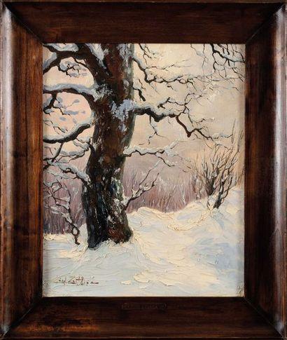 Léon ZEYTLINE (1885-1962) Paysage de neige...