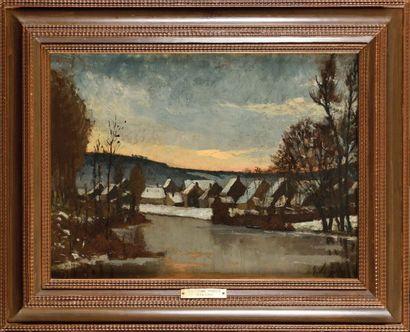 Guillaume VOGELS (1836-1896), Village enneigé...