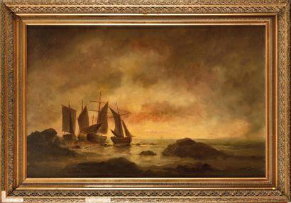 Marie-Edouard ADAM (1847-1929) Bateaux de...