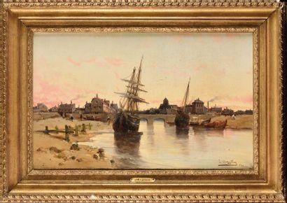 Jean MAZELLA (XIX) Vue d'un port Huile sur...